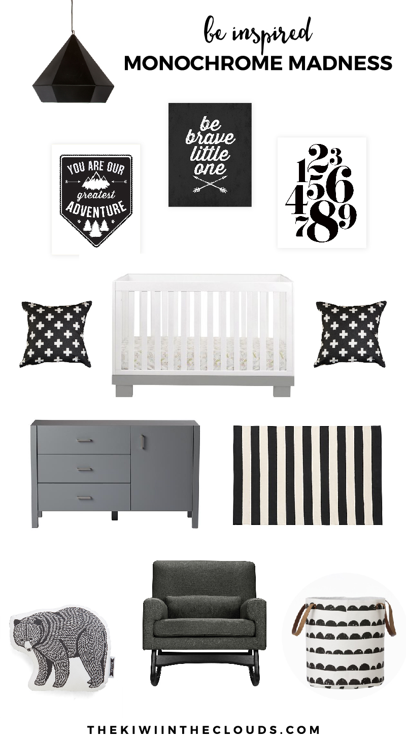 Monochrome Nursery | Are you looking for a modern twist on the traditional gender neutral nursery? Do you love classic black and white? If so, click through to find all the sources for this modern black and white baby room.