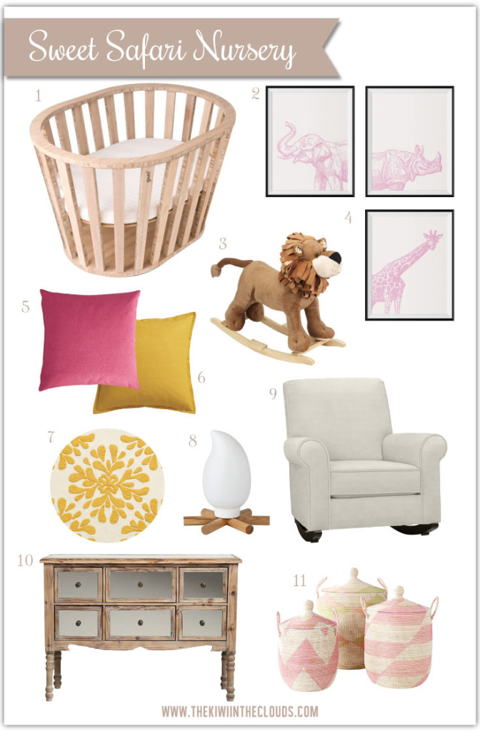 Sweet Safari Nursery | A soothing and feminine baby girl safari nursery, inspired by my time working at a zoo. This inspiration board brings the outdoors inside in a sweet and subtle way.