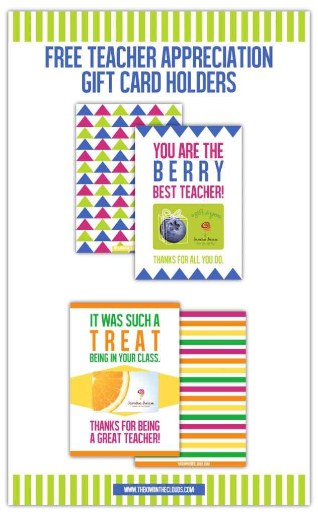 Free Teacher Appreciation Gift Printables | Let your kid's teacher know just how much you appreciate them by giving them this sweet gift holder printable. Perfect for end of the year gift!