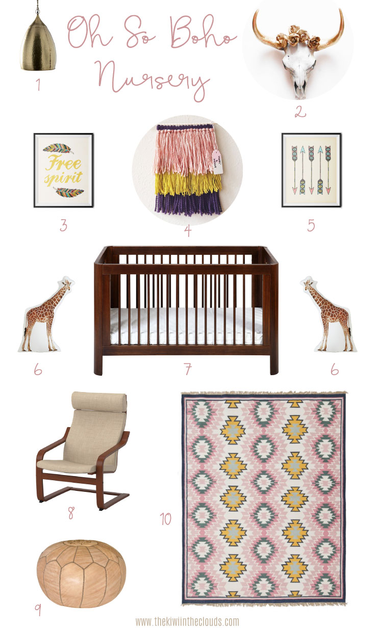 Modern Bohemian Nursery Decor Design Board