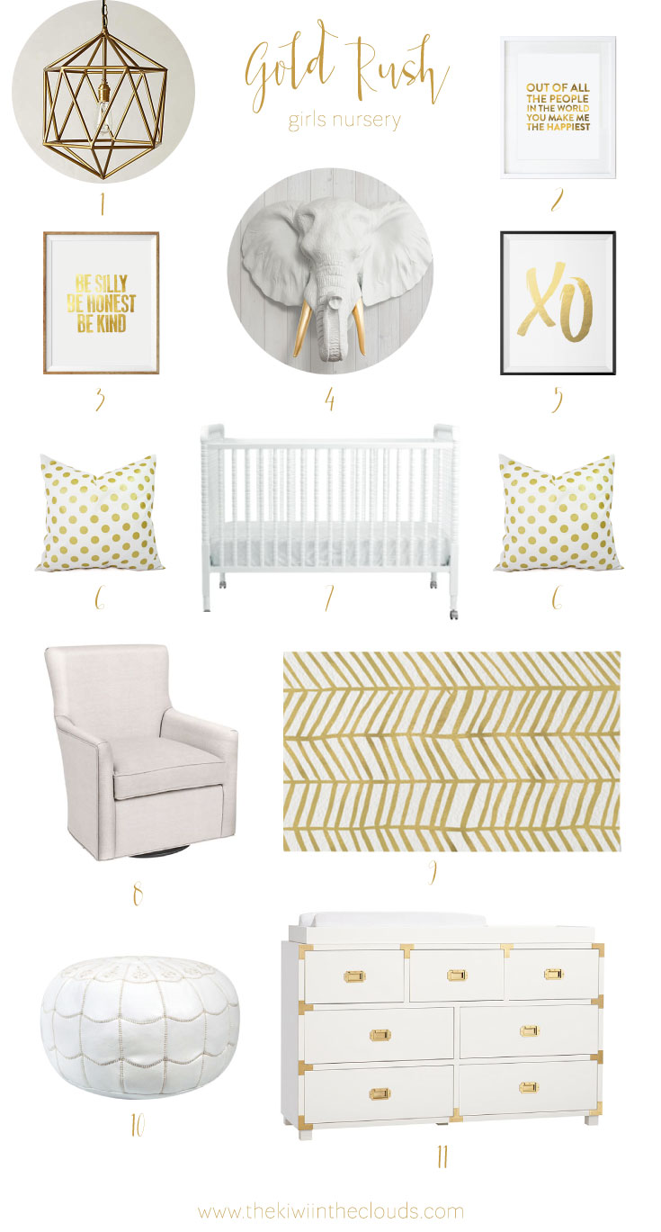 gold rush: gold nursery design board