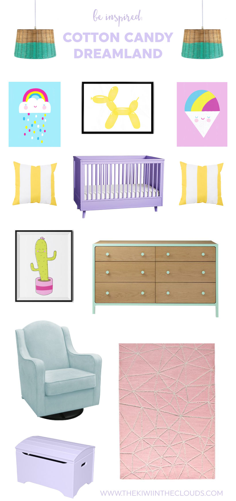 Cotton Candy Dreamland Nursery | If you love bright, cheery and girly nursery themes, then you will be head over heels for this cotton candy dreamland bedroom design. Click through to find all the links to create a pastel girl's nursery room today!