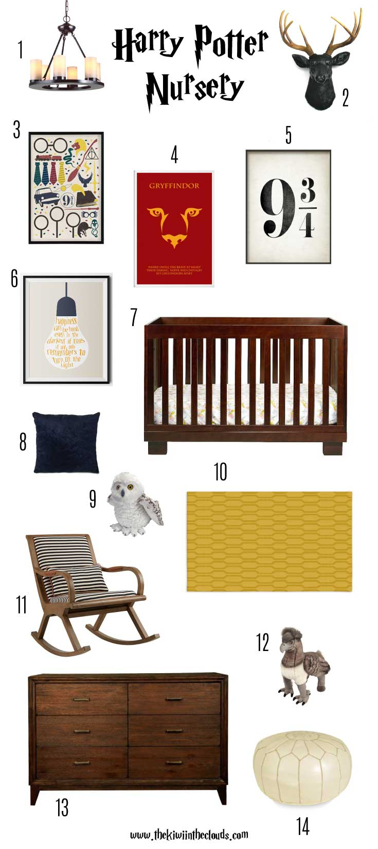 This Harry Potter nursery is the perfect blend of fun and sophistication. Click through to see all the sources plus download your FREE Harry Potter printable wall art.