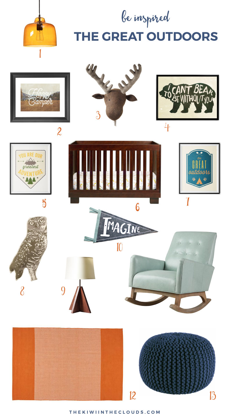 Camp Themed Nursery for Boys | Click through for all the details on how to design your little baby's nursery to reflect the great outdoors.