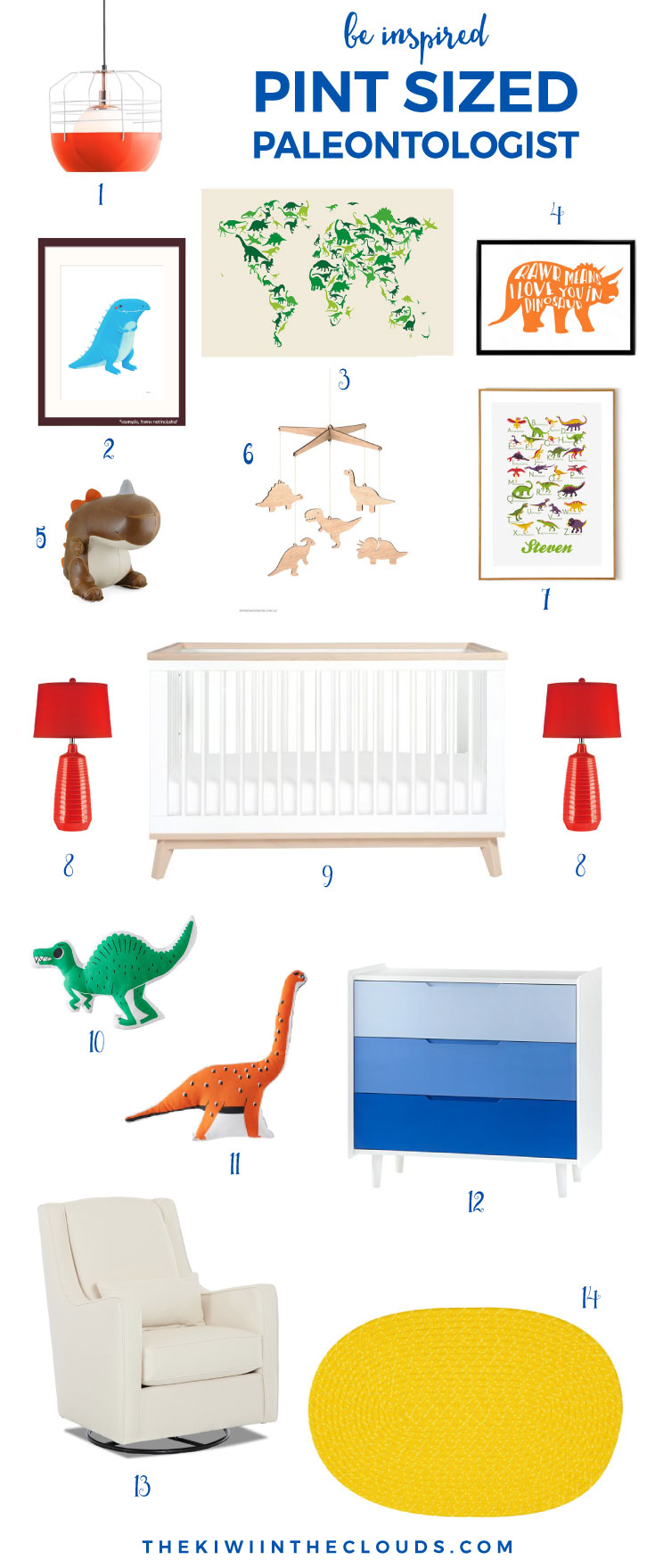 dinosaur nursery idea - pint sized paleontologist. | This dinosaur themed nursery is fun and perfect for the mom who loves primary colors. Click through for all the details!