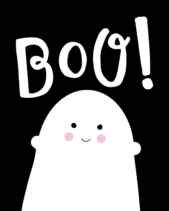 Printable Ghost Decoration | Looking for a fast way to get Halloween ready and still have it be kid friendly? Click through to download your FREE 8x10 cute and friendly ghost 8x10 wall print.