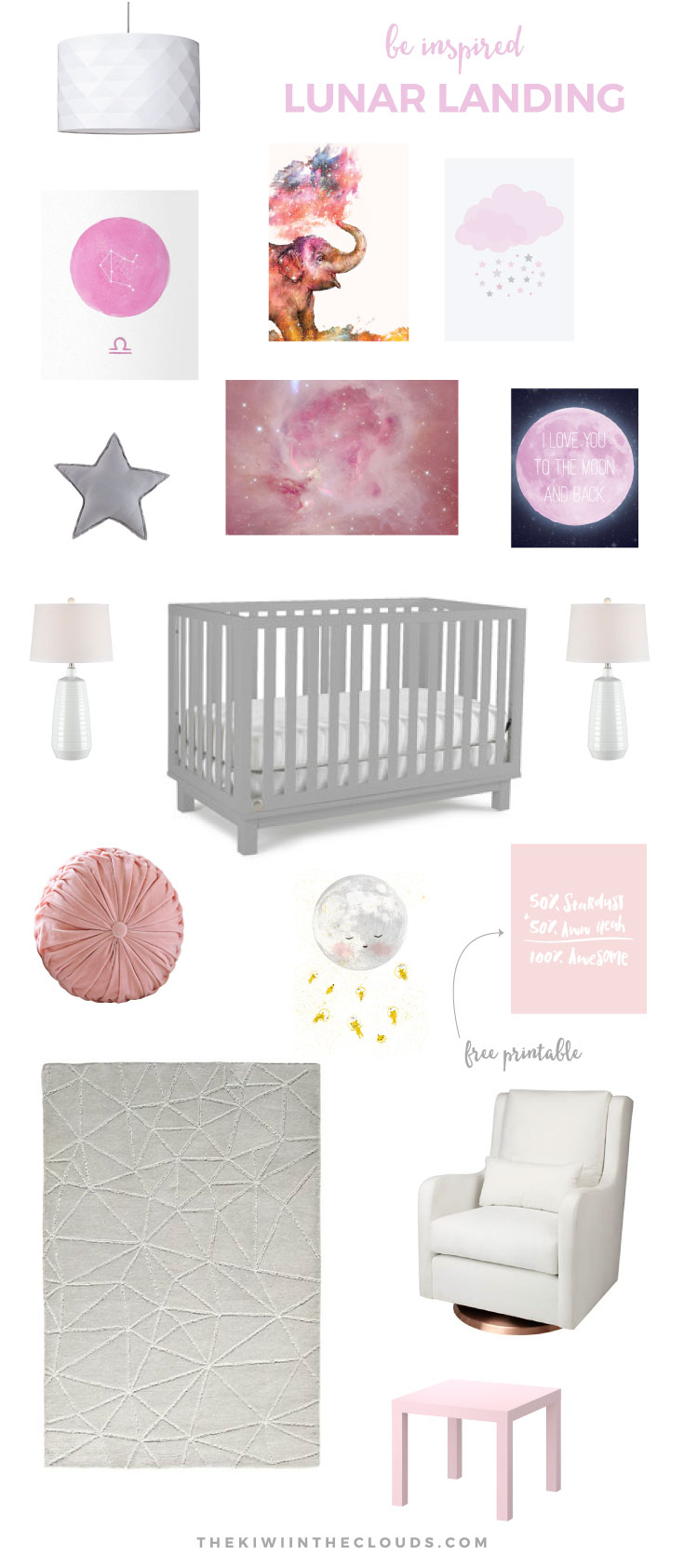 Space Themed Nursery For Girls | Repin to save this lovely pink and gray themed girls' nursery. Plus there's a FREE 8x10 art print download for you too!
