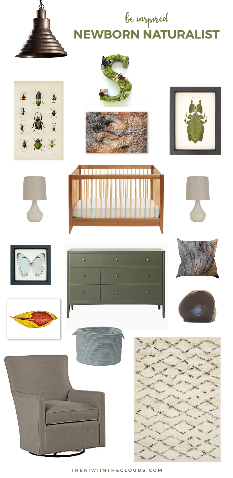 Newborn Naturalist | This nursery theme features all the natural curiosities on the Earth and pulls it all together in a calming, neutral and soothing baby room. Click through to find all the details.