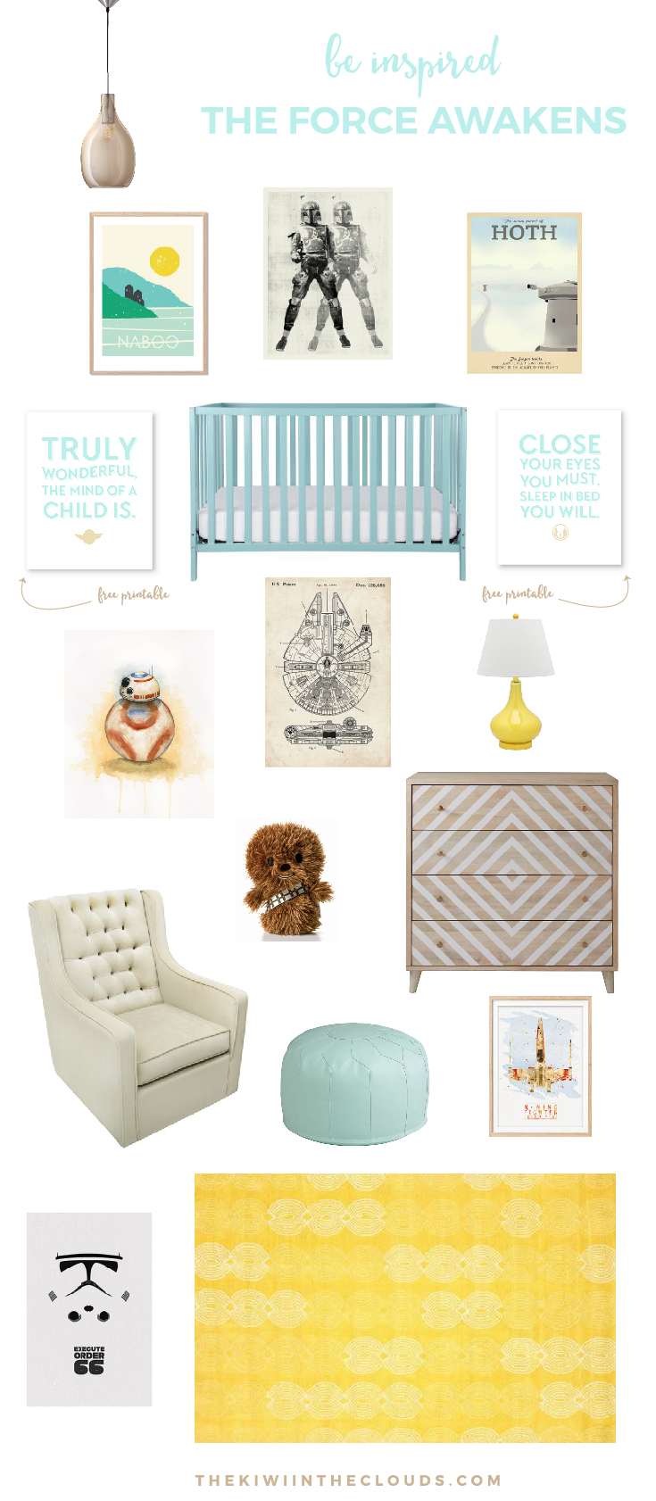 Star Wars Nursery: The Force Awakens | Have you caught the Star Wars fever and you're wondering how to incorporate it into your little one's room without making it look over the top and tacky? If you said yes, then this room is totally for you! The soft hues make it equally lovely for boys and girls. Plus it's a room your baby can grow with for years!