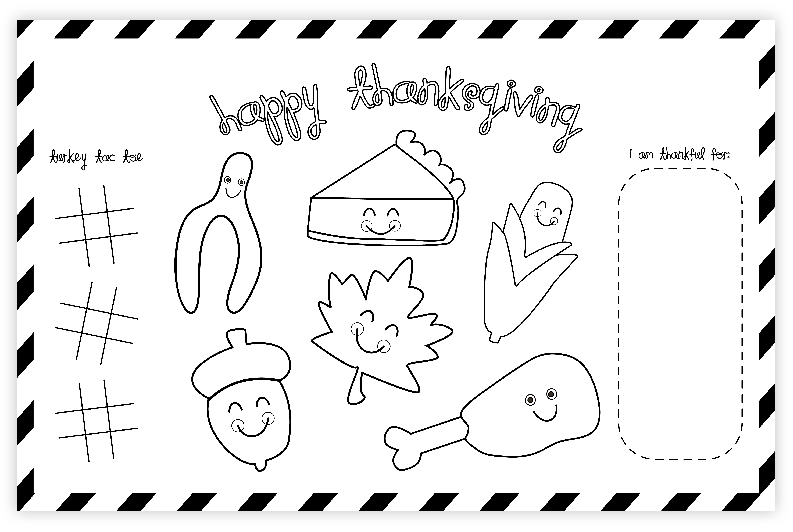 photograph relating to Thanksgiving Placemats Printable identified as Totally free Thanksgiving Printable Placemat