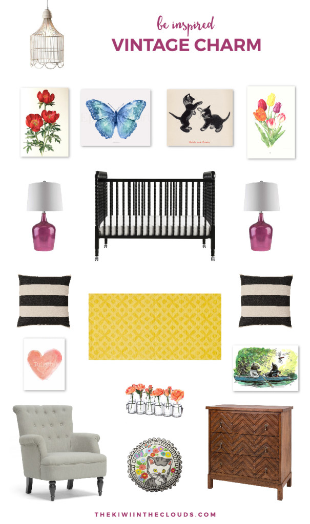 Vintage Girl's Nursery | Bring the charm of vintage style into your nursery with this lovely inspiration board.