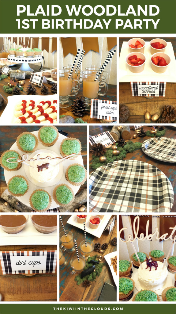 Plaid Woodland Party Themed 1st Birthday | A rustic, plaid themed 1st birthday party with FREE welcome sign and food tent cards. Click through to view all the details.