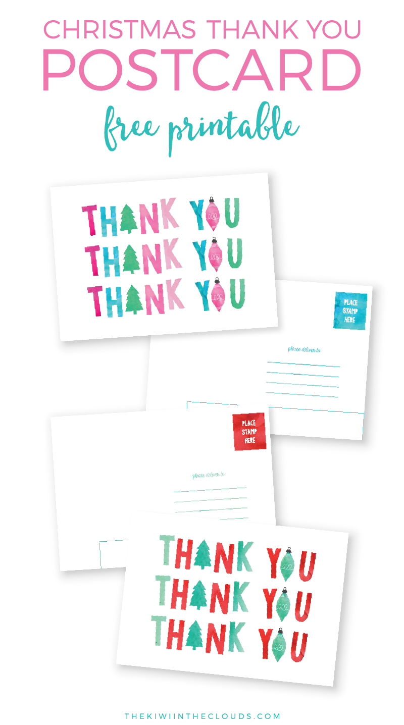 Christmas Thank You Cards FREE Printable | Send some happy mail and teach your kiddos manners by mailing these cute Christmas thank you post cards! Click through to download now.