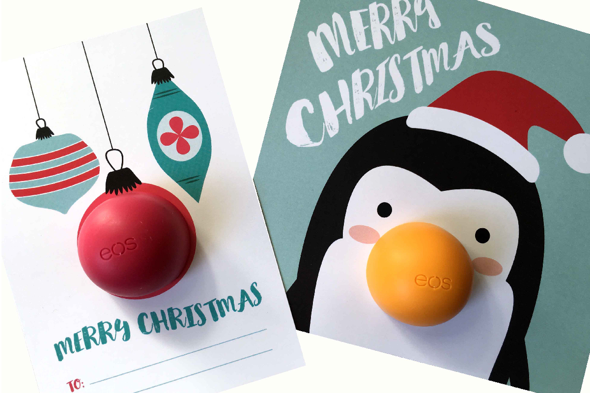 EOS Christmas Free Printables | Are you on a mad dash to find a cute way to say I'm thinking of you this Christmas? Don't let the bank break your Christmas spirit. Come download these 2 free printable Christmas cards.