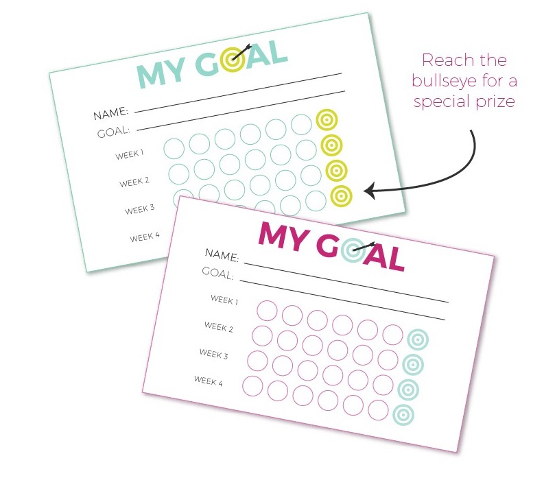 Goal Setting For Kids + Free Printable | Teaching kids how to set and KEEP goal is hard. Why not make it more fun with this free printable goal punch sheet?