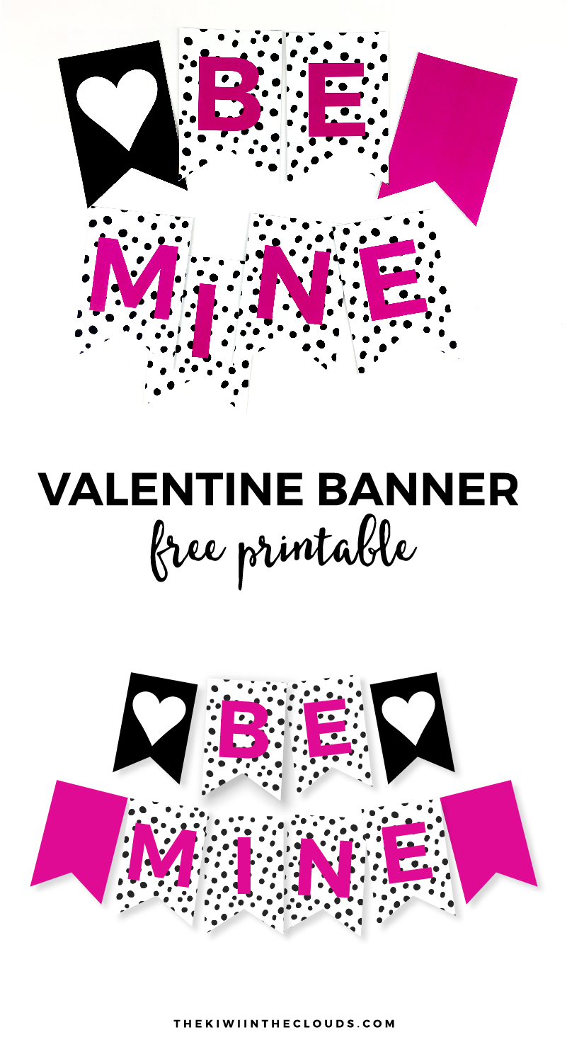 Free Printable Valentine Banner | Come download this FREE printable Valentine's day banner to decorate your home in a snap!