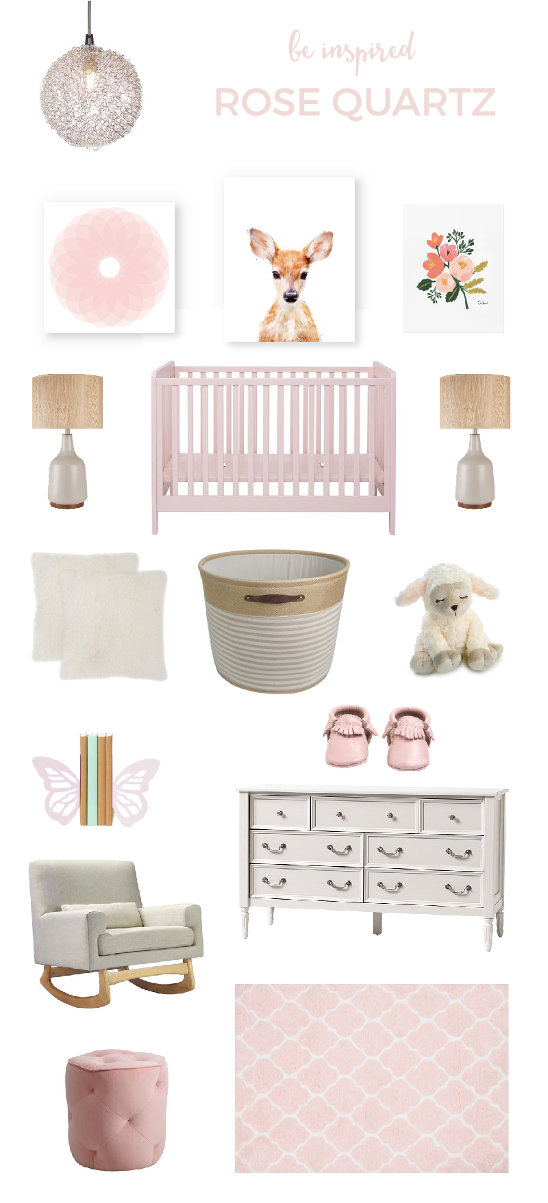 Rose Quartz Nursery | Have your little girl be right on trend with Pantone's 2016 color of the year, Rose Quartz. It's feminine, calming and beautiful! Click through for all the sources.