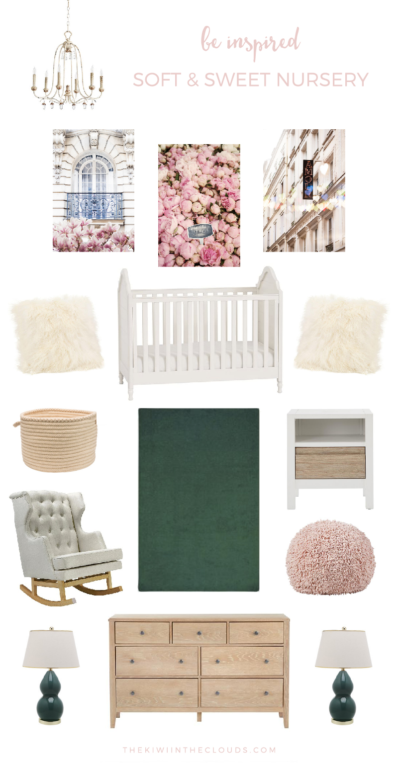 Soft And Sweet Nursery | Inspired by the serenity and innocence of a newborn, this little girl's nursery is calming and beautiful. Click through for the entire source list.