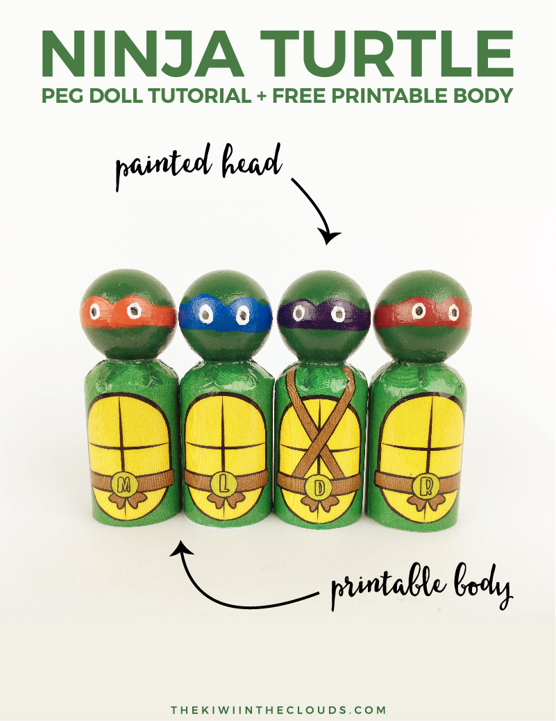 Ninja Turtle Peg Doll Tutorial | Have you always wanted to make a peg doll for you kiddo, but you thought it would be too hard? Then this tutorial is for you! All you have to do is paint the head because the body is a FREE printable. Click through for all the details.