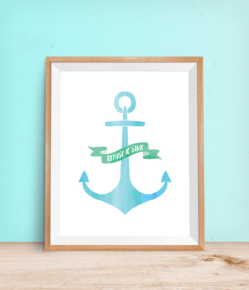 "Anchor Free Printable Wall Art | This inspirational anchor printable is 8""x10"" and is perfect for a soft, serene nursery or even in the living room of a coastal themed home. Click through to download your copy today!"