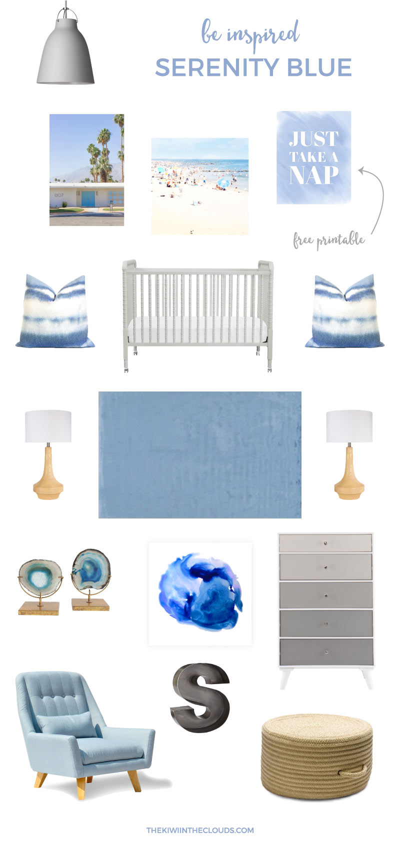 Pantone Nursery | You've seen the Rose Quartz nursery board, now make room for the Serenity blue nursery board. Be right on trend with this cool and calming blue nursery. And download your FREE corresponding printable wall art!