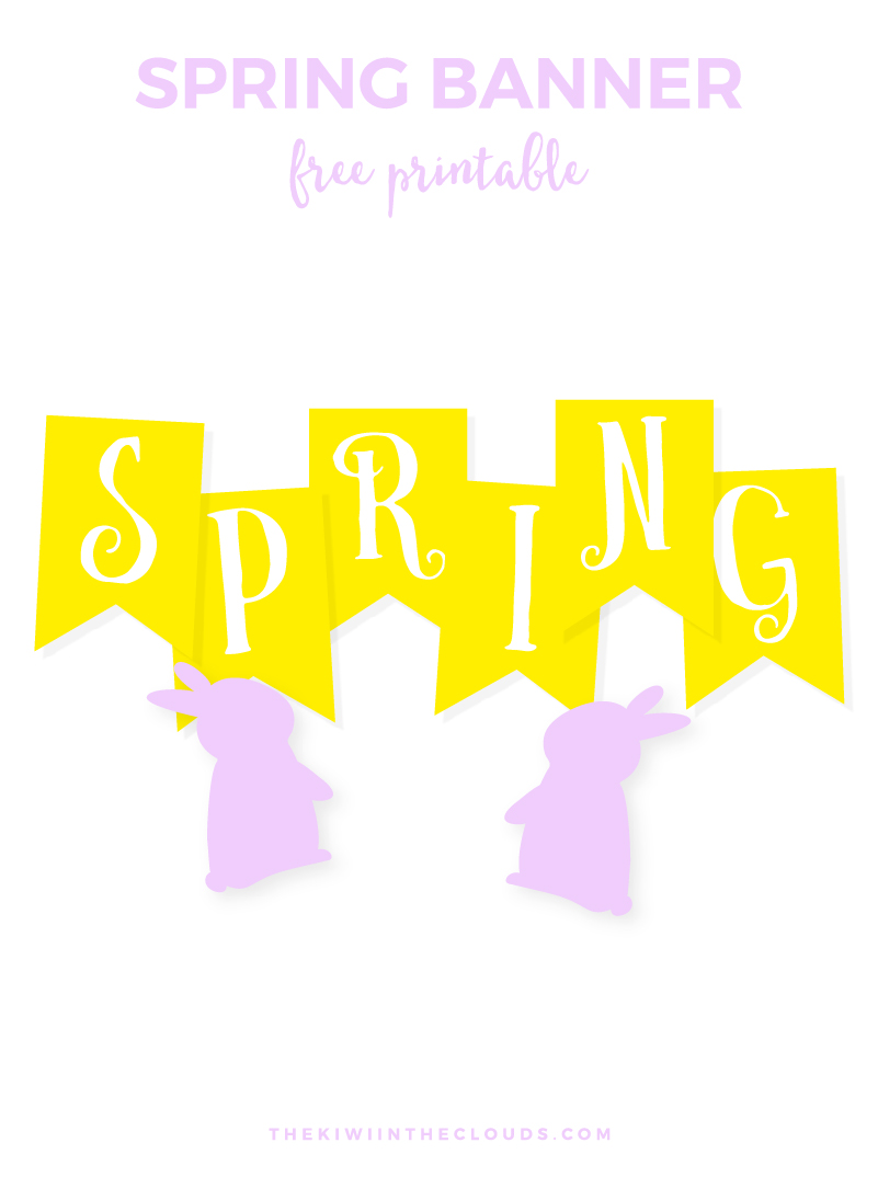 FREE Spring Printable Banner | Come download a copy of this bright and cheery banner which can be used for not only Easter, but the whole spring season. Complete with cute little bunny end spacers.