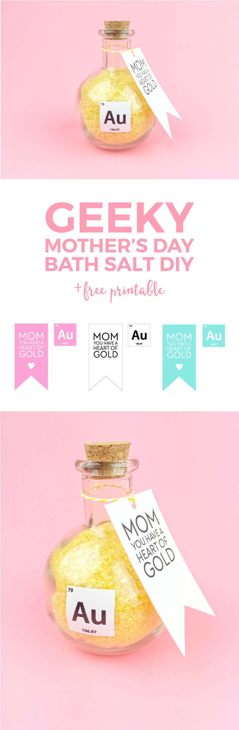 Come treat your mom to these luxurious gold flecked and lemon scented bath salts for Mothers Day. They're perfect for any tired mom and complete with free printable tags and stickers!!