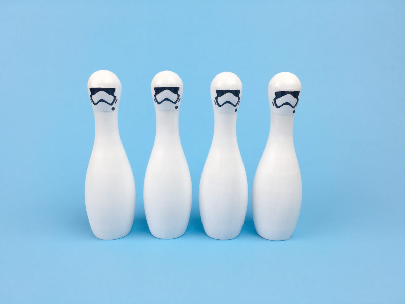 picture regarding Bowling Pin Printable called Star Wars Do-it-yourself - Dying Star Stormtrooper Bowling Fastened