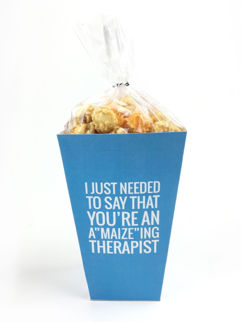 Therapist Gift Idea | This Teacher's Appreciation week, don't forget about the aides, bus drivers and therapists that help your kiddos out each and every day! Click through to download your free printable popcorn boxes for all those special helpers!