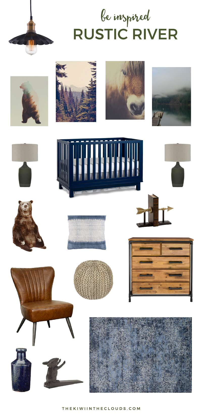Rustic Baby Boy Nursery | Inspired by a modern, yet rustic lodge this rustic baby boy nursery is ideal for parents looking for a way to bring the outdoors inside. Click through for all the sources.