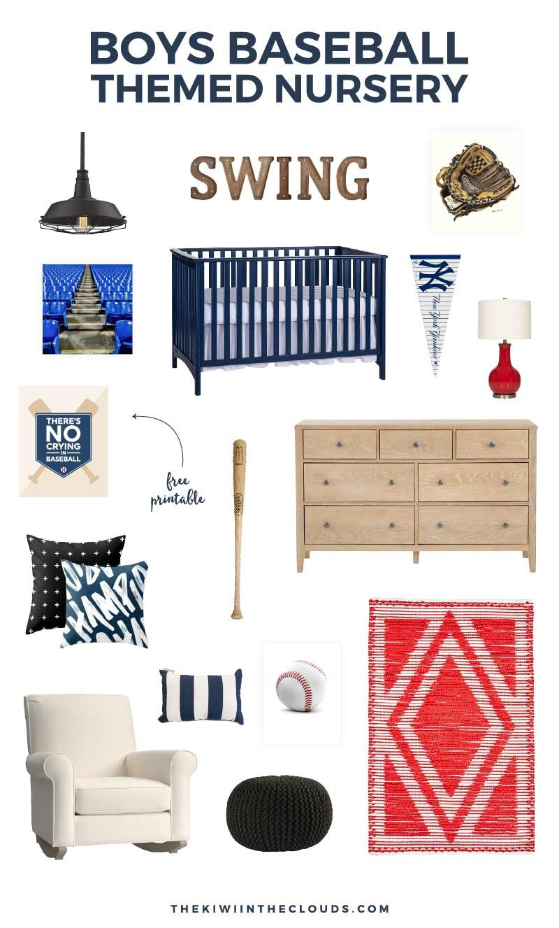 Find all the perfect pieces to furnish this baseball nursery for your little boy! It's perfect for the sports loving dad and mom!
