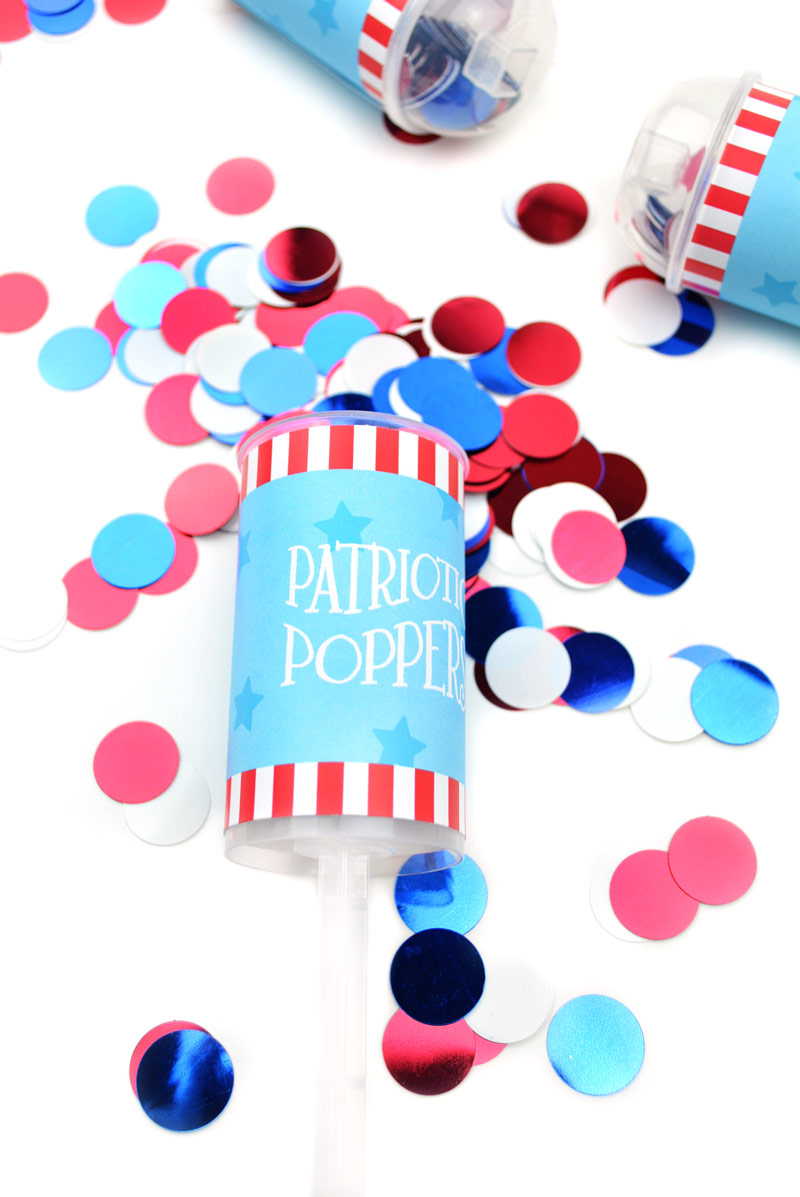 4th of July Crafts | Let your young kids in on the patriotic festivities with these Fourth of July confetti poppers diy and FREE printables. No more worrying about firework safety. Click through to download yours today.