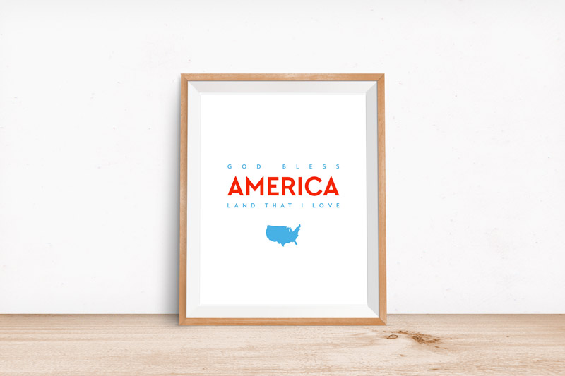 Celebrate our great country's freedom with this God Bless America free printable art. This patriotic art is FREE so download your copy today to spruce up your home in an instant!