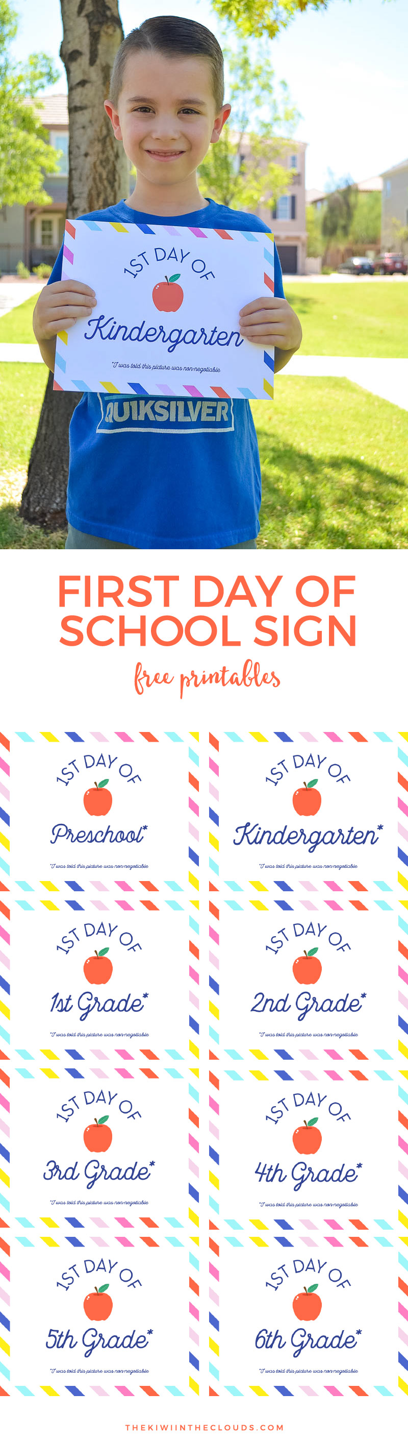 Document your child's new school year with these first day of school signs free printables from preschool to 6th grade. There's a plain option or one with a slightly sarcastic disclaimer attached. Click through to download now!