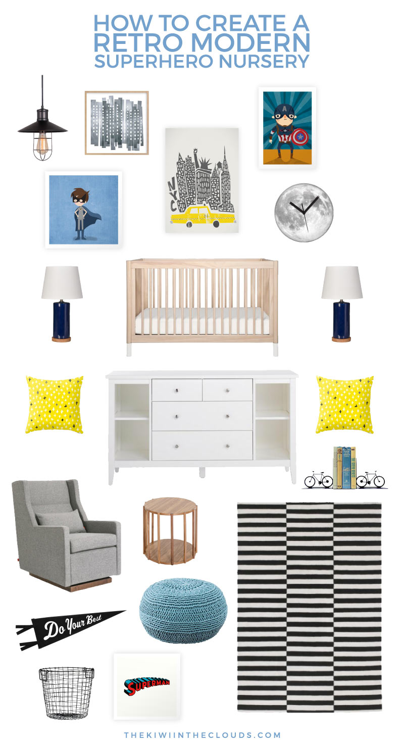 Turn your baby boy's room from bland and boring to modern and lively with this superhero nursery. It has the perfect touch of modern and retro elements!