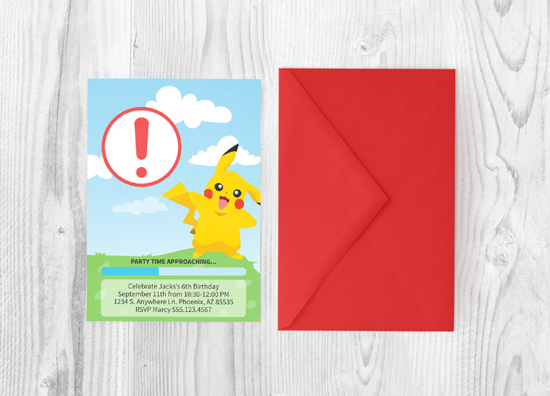 Throw an epic Pokemon party with this Pokemon go invitation and printable party pack!