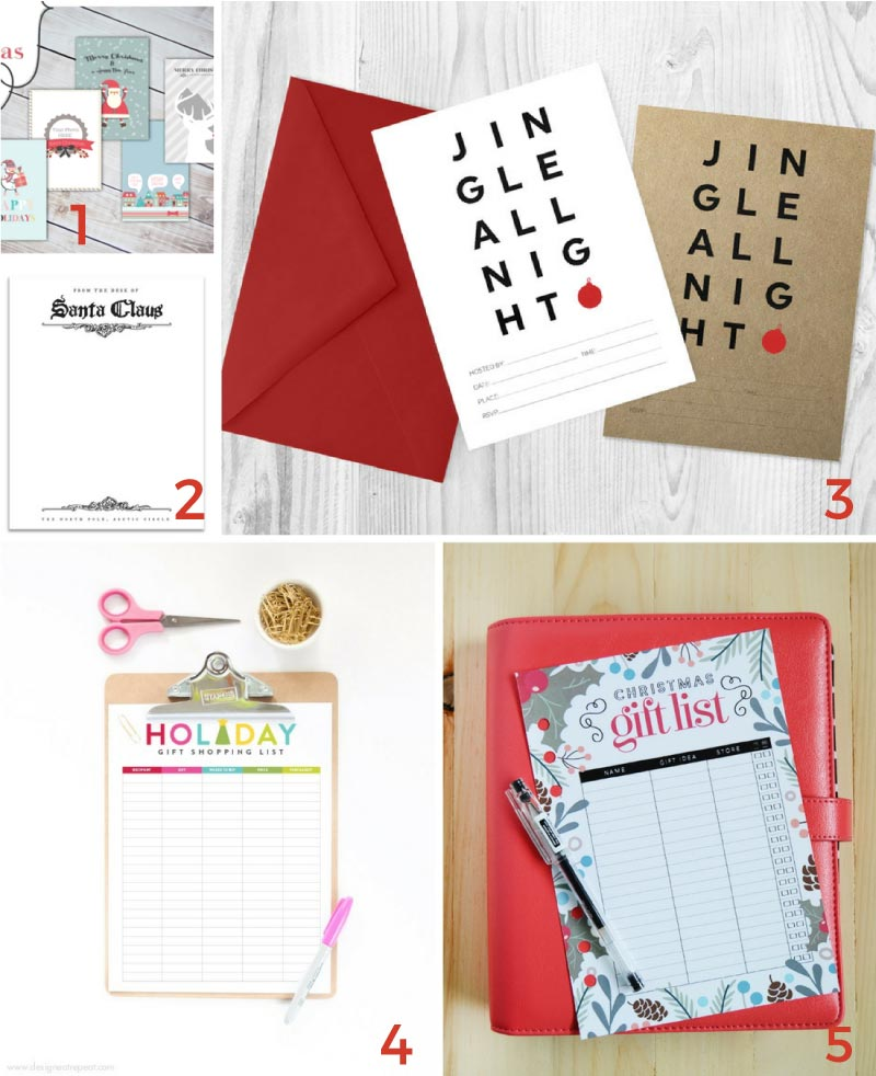 Come download some of the cutest free Christmas printables including holiday lists, party invitations and Christmas cards.