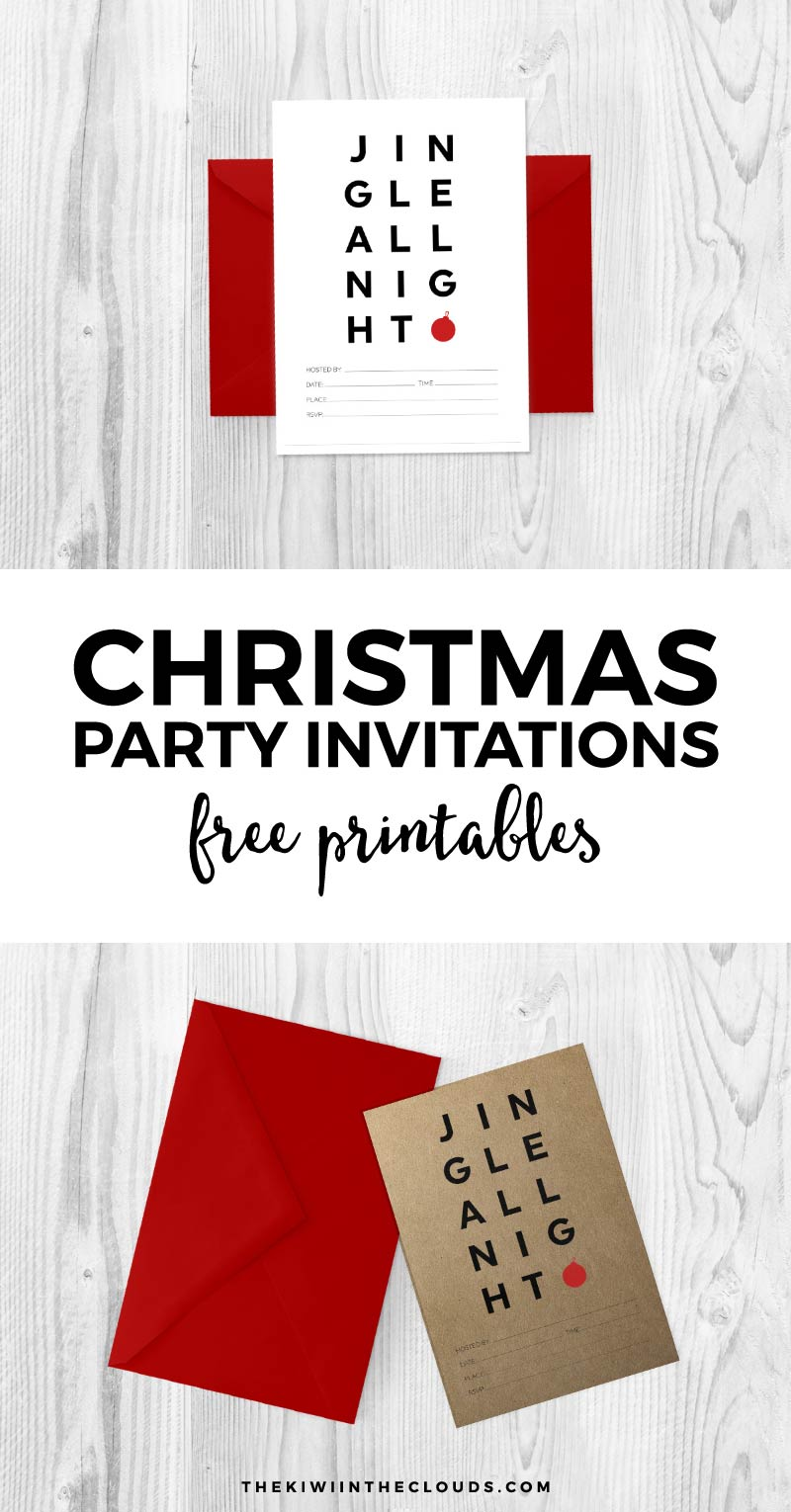 Download these free printable Christmas invitations to set the tone for a modern and simple holiday party.