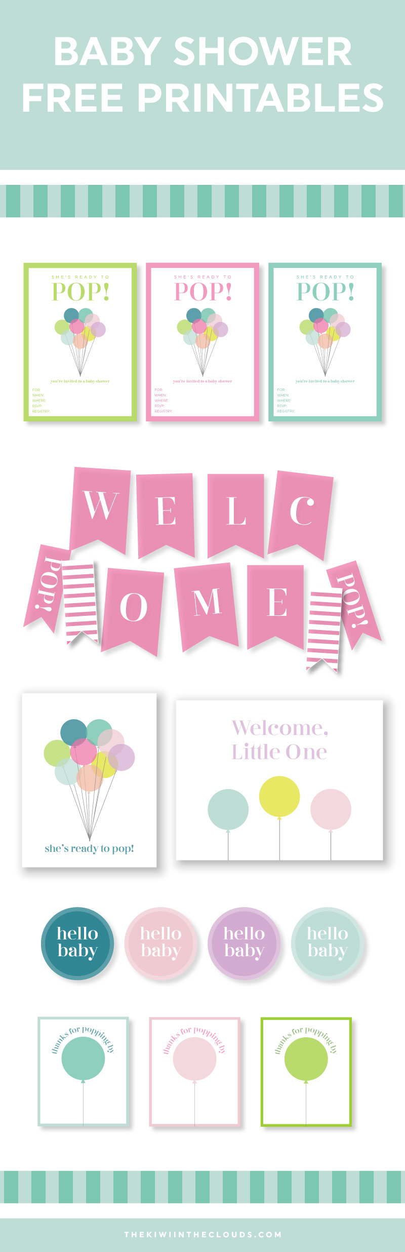 Ready To Pop Baby Shower Printables | Free Printables | Baby Shower Ideas |  Baby Gear