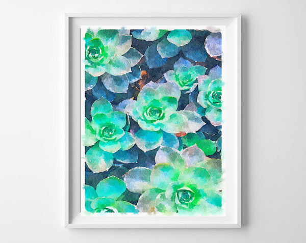 printable poster   succulent art