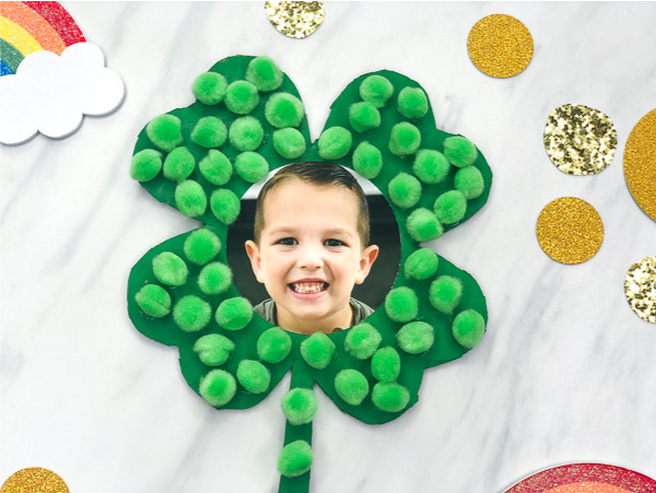 photo and pom pom four leaf clover craft