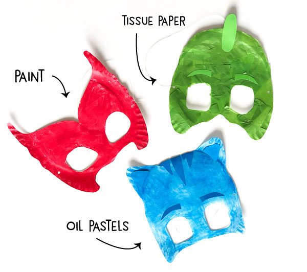 Owlette, Gekko and Catboy paper plate masks