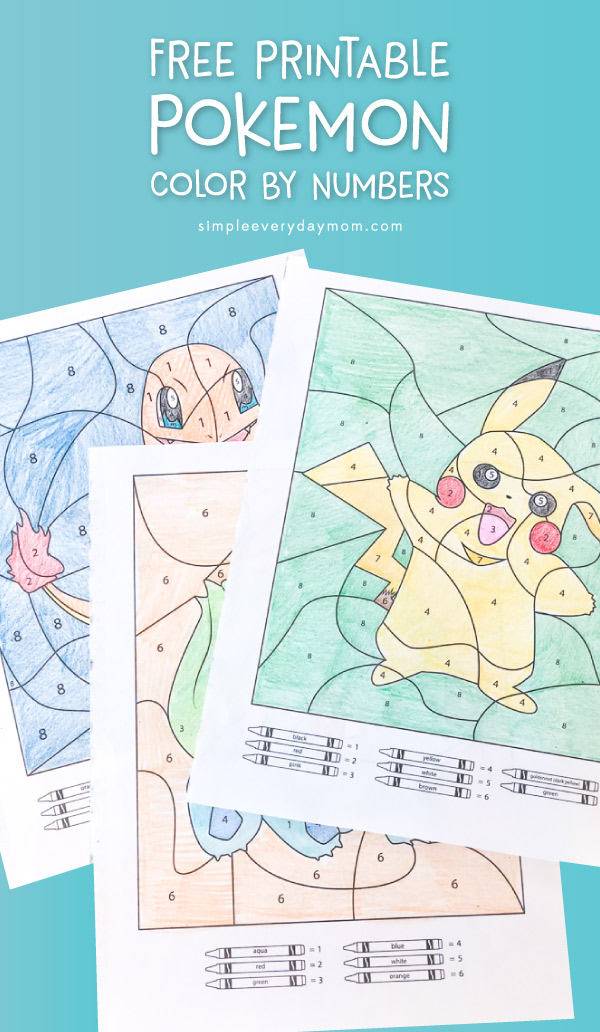 Free Pokemon Color By Number Printables | Let your kids find their favorite hidden Pokemon characters in these Pokemon colour by number worksheets that feature Pikachu, Bulbasaur, and Charmander.  #pokemon #mathactivities #kidsactivities #activitiesforkids #colorbynumber #boredombuster