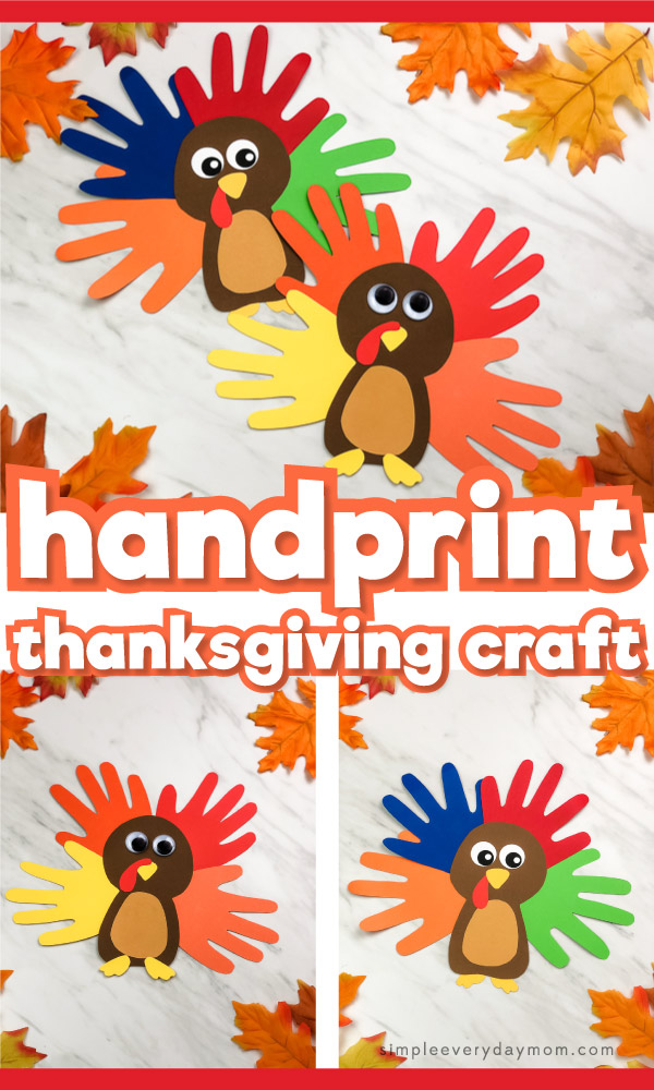 Handprint turkey craft image collage with the words handprint thanksgiving craft in the middle