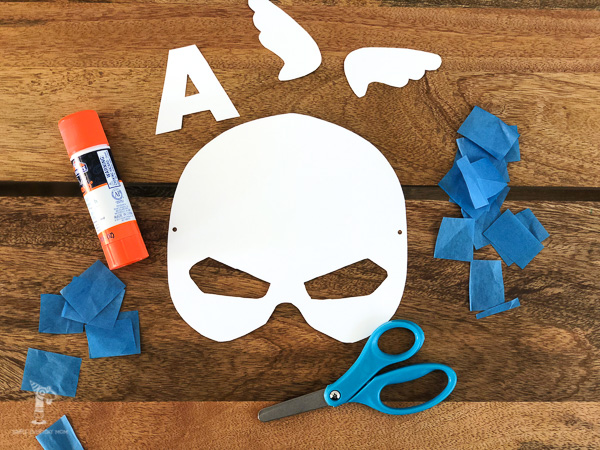 captain america mask template with scissors, glue stick and tissue paper