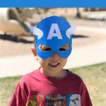 Little boy with captain america mask