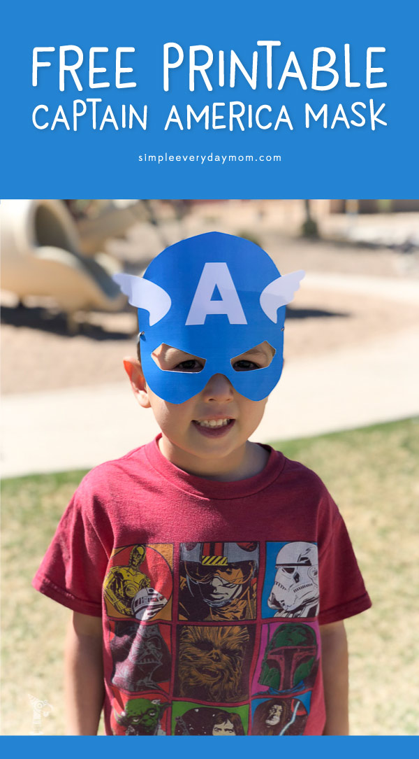 Printable Captain America Mask | Download this free printable Captain America mask to turn your little one into a superhero in no time! There's a full color version or a black and white version to do your own superhero craft at home. These are great for pretend play, superhero birthday parties or for the fourth of july! #superhero #printablesforkids