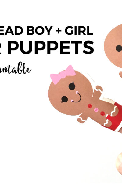 FREE Printable Gingerbread Boy + Girl Finger Puppets | Do you need an easy way to entertain your little one's while making your world famous Christmas dinner? Then click through to download your free printable today.