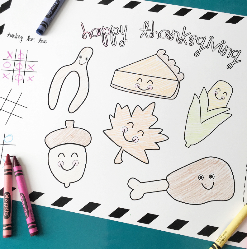 FREE printable Thanksgiving placemat for kids | Keep your kid's happy and busy while you finish up that special turkey with this free printable placemat. Click through to download one instantly!