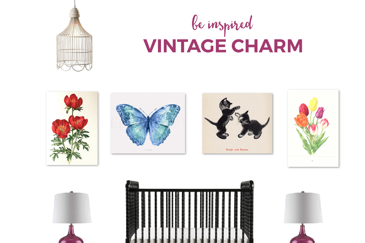 Vintage Inspired Girl's Nursery | Bring the charm of vintage style into your nursery with this lovely inspiration board.